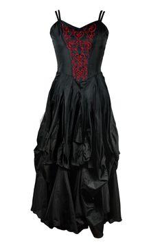 Dark Star Gothic Dress, Black Polysilk Floaty Goth Dress with Red Embroidery Detail