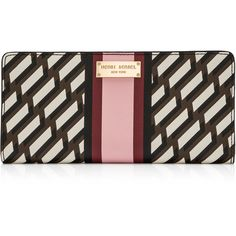 Henri Bendel West 57th Sport Graphic Single Snap Wallet ($108) ❤ liked on Polyvore featuring bags, wallets, pink multi, zippered change purse, saffiano leather wallet, zipper wallet, zip coin pouch and snap coin purse
