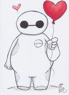 ORIGINAL ART - Baymax with Heart Balloon by Lady Otaku, original marker sketch on card Cartoon Drawings, Disney Art Drawings, Disney Drawings, Baymax Drawing, Mickey Mouse Drawings, Drawing Sketches, Art, Art Drawings Sketches Creative, Easy Cartoon Drawings