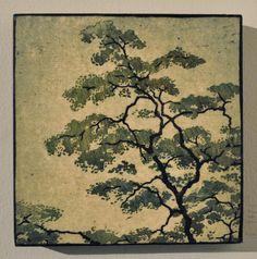 Original+Mounted+Woodblock+Print++Locust+Tree++Moku+by+starkeyart,+$30.00