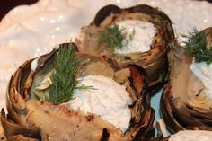 Grilled Artichokes with Skinny Dill Sauce #appetizer #skinnyfood #glutenfree #artichokes