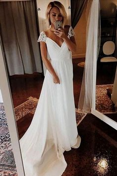 Simple A Line Chiffon Wedding Dresses Cap Sleeve V Neck Bohemian Beach Bridal Gowns - Braut Wedding Dress Chiffon, Cute Wedding Dress, Lace Mermaid Wedding Dress, White Wedding Dresses, Mermaid Dresses, Wedding Gowns, Modest Wedding, Boho Wedding, Wedding White