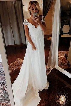 Simple A Line Chiffon Wedding Dresses Cap Sleeve V Neck Bohemian Beach Bridal Gowns - Braut Wedding Dress Chiffon, Cute Wedding Dress, White Wedding Dresses, Elegant Dresses, Formal Dresses, Modest Wedding, Wedding White, Pretty Dresses, Casual Dresses
