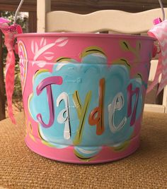 FREE SHIPPING!!!!! Easter Bucket, Personalized, Hand-Painted, Tin, Pail, Easter Pail