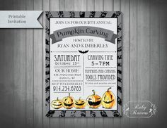 Pumpkin Carving Party Invite Halloween invitation by RubyRavens