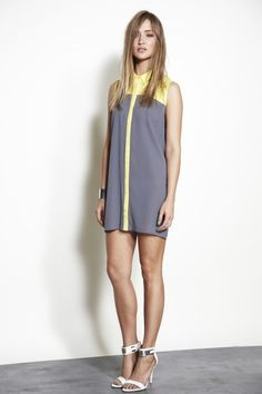 Gray & Yellow Collared Shirt Dress #cocktaildress