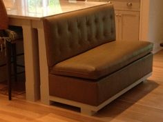 Custom built banquette to look built in to kitchen