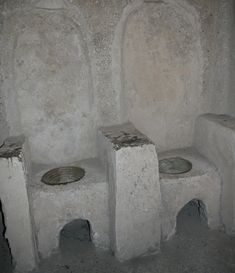 These cloistered women didn't bury nuns who died (of natural causes I hasten to add) but sat their bodies on chairs cut into the stone walls of the castle. Yes I know they look like toilets but below each chair is a hole into which the decomposing bodies would slowly descend into the depths of the island. All the while their former companions, the still-living nuns, sat nearby in deep contemplation!