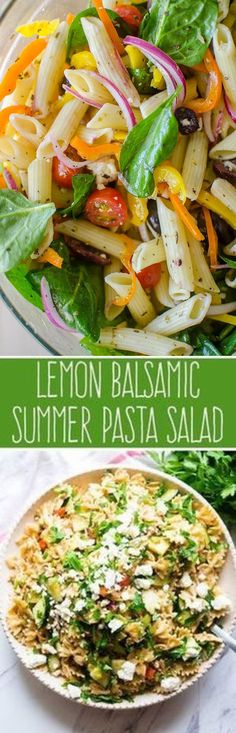 The Best lemon pasta salad A light and fresh pasta salad with lemon herb vinaigrette is the perfect pasta salad to make this summer. Lemon Pasta Salads, Summer Pasta Salad, Fresh Pasta, Pasta Salad Recipes, Summer Salads, Spinach Salads, Taco Salads, Vegetarian Recipes, Cooking Recipes
