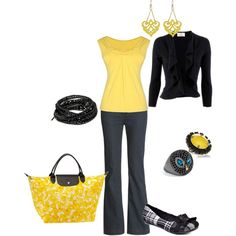 Cute casual outfit. Love the yellow and black.