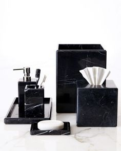 """Luna"" Black Marble Vanity Accessories - Neiman Marcus"