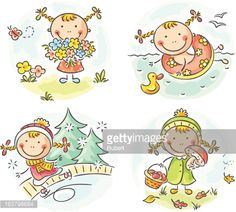Illustration of Little girl vector art, clipart and stock vectors. Seasons Activities, Activities For Girls, Outdoor Activities For Kids, Art Drawings For Kids, Drawing For Kids, Art For Kids, Clipart, Cartoon Sketches, Stick Figures
