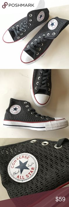 NEW CONVERSE Chuck Taylor hi top mesh grey sneaker NEW IN BOX WITH TAGS. Mesh textile upper. Perfect for warm climate weather. Chuck Taylor ALL STAR. (0028) Retail $65 Converse Shoes Sneakers