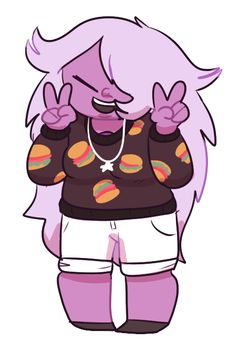 Amethyst + hamburger sweater = coolest fan art ever | Steven universe