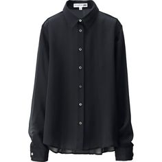 UNIQLO Women Idlf Silk Georgette Long Sleeve Blouse ($60) ❤ liked on Polyvore featuring tops, blouses, black, long sleeve blouse, uniqlo, fitted tops, silk georgette blouse and long sleeve tops