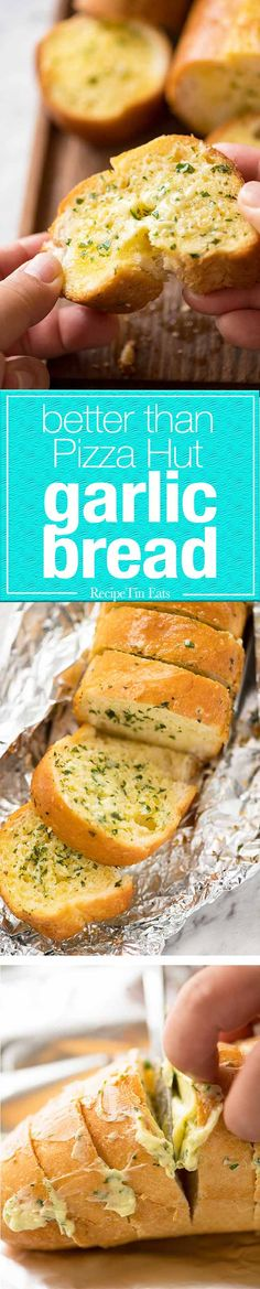 Better than Pizza Hut! For a truly religious Garlic Bread experience, skip the artisan bread and use a basic French stick. And no skimping on butter!
