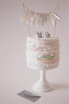 Cake Bunting/Cake Topper Ribbon. Baby Pink, Baby Blue/ Light Yellow. Baby Shower | Confetti Creations | madeit.com.au