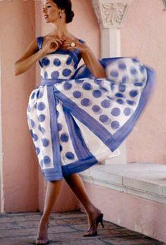 Polka dot scarf print dress, early 1960's