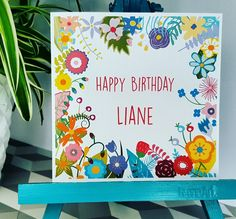 PERSONALISED Handmade Birthday Floral Bright Flowers Any name of choice Card