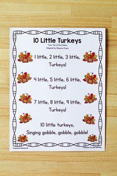 10 Little Turkeys Preschool Song - Fantastic Fun & Learning