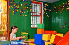 Dream Home - Lego Wall. I want to make a smaller version of this for my kids, it looks like such a fun playroom!