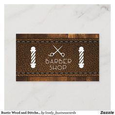 Rustic Wood and Stitched Leather Business Card