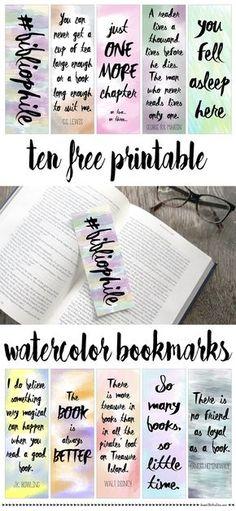 Free printable watercolor bookmarks