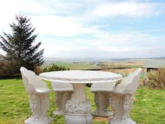 Discount Garden Statues   Very Heavy Stone Cast Garden Table And 4 Chairs ,  £785.00