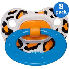 NUK - Animal Print Silicone Pacifiers (Sizes 1 & 2) 8-Pack Bundle, Leopard/Giraffe