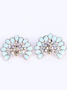 White Drop Glaze Gold Diamond Earrings - Sheinside.com