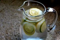 Lemon & Lime Ice Cubes...  Directions thinly slice lemon and limes, place 2 or 3 slices in each section of a muffin tin, carefully fill with water, freeze overnight, pop out a few ice cubes & place in pitcher of water.