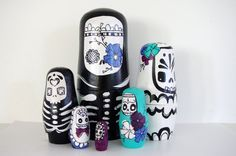 Oh My... I want these sooooo bad!!! Handmade wooden day of the dead nesting dolls!