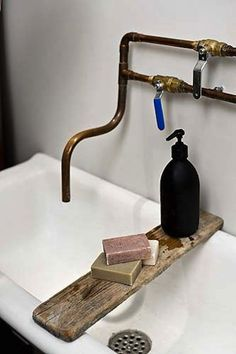 exposed copper plumbing design - primitive exposed copper pipe bathroom sink faucet - French by Design via Atticmag Bathroom Inspiration, Faucet, Sink, Decor, Interior Design, House Interior, Bathroom Decor, Bathroom Design, Home Decor