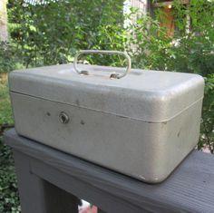 Vintage Gray Metal Storage Box With Handle   CCC by @SimplySuzula