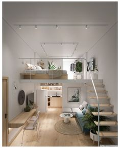 Loft Interior Design, Loft Design, Home Room Design, Tiny Bedroom Design, Room Interior, Garage Apartment Interior, Minimal Bedroom Design, Kids Bedroom Designs, Design Homes