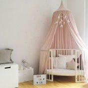 Princess Kids Bed Canopy Cotton Mosquito Net Bed Canopies Kids Play Tent Curtains Room Decoration for Baby Indoor Outdoor Playing Reading Height 240cm (Pink)