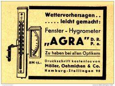 """Original-Werbung/ Anzeige 1933 - FENSTER - HYGROMETER """"AGRA"""" /MÖLLER, OEHMICHEN & CO. HAMBURG-STELLINGEN -ca. 70 x 50 mm"""