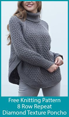 Free Knitting Pattern for 8 Row Repeat Diamond Texture Poncho - Oversized poncho. Free Knitting Pattern for 8 Row Repeat Diamond Texture Poncho - Oversized poncho shaped pullover with sleeves knit with . Poncho Knitting Patterns, Knitted Poncho, Knit Patterns, Baby Knitting, Knitting Designs, Vintage Knitting, Loom Knitting, Free Knit Poncho Pattern, Sweaters Knitted