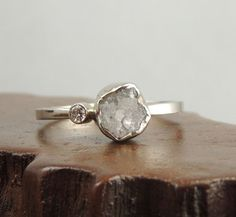 14k White Gold Rough Diamond Ring, Handmade Engagement Ring, Alternative Wedding Ring