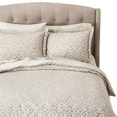 Fieldcrest® Luxury Geometric Comforter Master: another alternative duvet, use solid sheets in blue, a blue throw/accent pillow and a matching blue throw at the bottom of bed