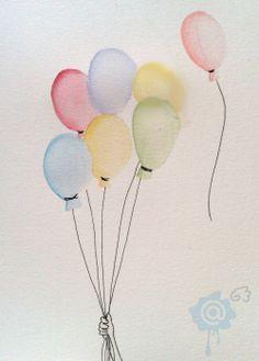 Aquarelle/watercolor - ballons/balloons