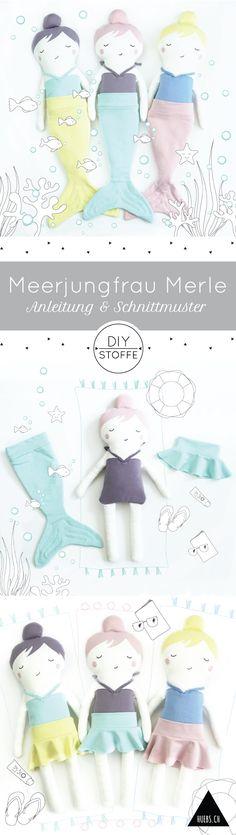 Die Step-by-Step Nähanleitung und das Schnittmuster für Meerjungfrau Merle findet Ihr auf diy-stoffe.de