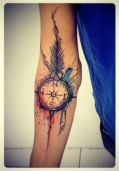 Watercolor Compass Tattoo Designs with Feather.