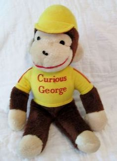 "14"" Vintage KNICKERBOCKER Yellow Shirt CURIOUS GEORGE Stuffed Plush Doll Toy"