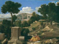 Trademark Fine Art 'Landscape With Saint John On Patmos' Canvas Art by Nicolas Poussin, Size: 35 x Blue Poussin Nicolas, Oil On Canvas, Canvas Art, Art Criticism, Baroque Art, Saint Jean, Chef D Oeuvre, Art Institute Of Chicago, Chiaroscuro