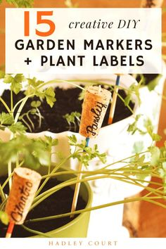 Are you planning your garden for Spring? It can be hard to identify plants by their sprouts alone, so I like to use garden markers to identify what is growing where. In this blog post, I share 15 unique garden markers to help you organize your garden. Hadley Court Interior Design Blog by Central Texas Interior Designer, Leslie Hendrix Wood.