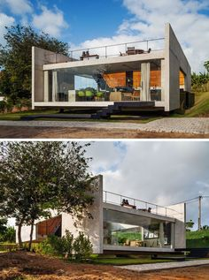 13 Modern House Exteriors Made From Concrete   The mostly concrete exterior of this house gives it a rough look that's softened and warmed up by the use of wood at the back of the house.