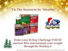 AdvoCare + Holiday Cheer= Happiness in the air! Looking to keep that holiday weight off before your new years resolution time? Start a 24 day challenge now and give yourself the gift of health living this holiday season!   www.advocare.com/130141111 to get started today!