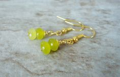 Korean Jade Earrings Jade and Gold Yellow Green by StrokesandStone Jade Earrings, Etsy Earrings, Earrings Handmade, Jade Green, Korean, Yellow, Trending Outfits, Unique Jewelry, Handmade Gifts
