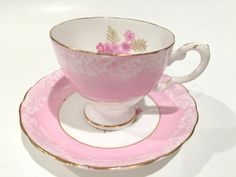 Delightful Pink Tuscan Teacup and Saucer, Tea Set, Tea Cup, Vintage Teacups, Antique Tea Cups, Pink Tea Cups, Bone China Cups, Pink Rose